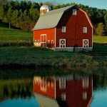 Red Barn and Reflection